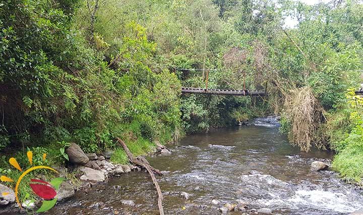 Brücke über den Fluss am Eingang zum Öko-Reservat Santa Rita