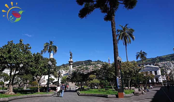 Beinahe Menschenleere Plaza Grande in Quito