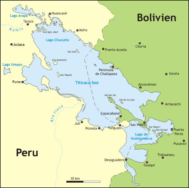 Titicaca-See, Karte, Peru, Bolivien