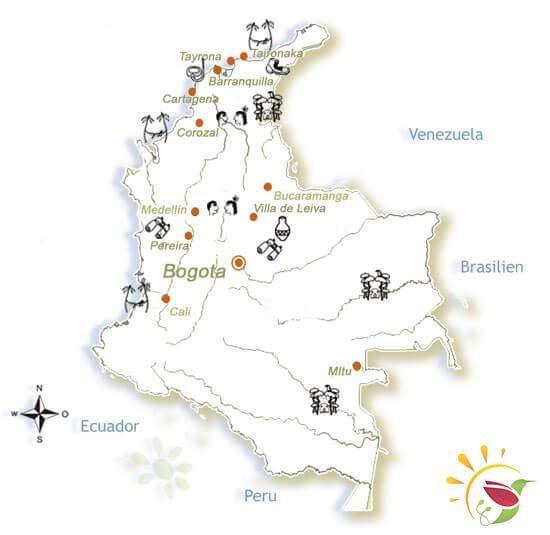 Karte: Rundreise Kolumbien